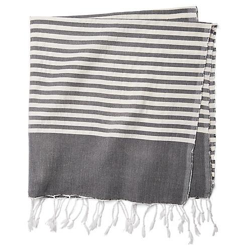 Moroccan Cotton Throw, Black/White