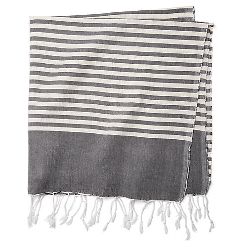 Moroccan Cotton Throw, Black/White