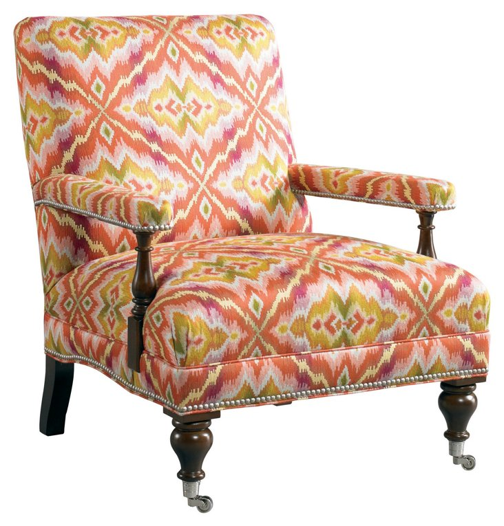 Addison Accent Chair, Rose/Yellow