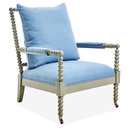 Jamine Accent Chair, Chambray Linen