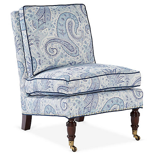 Lewiston Accent Chair, Blue/White