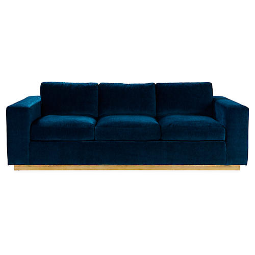 Lange Sofa, Dark Teal Velvet