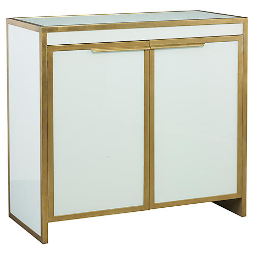 Clifton Bar Cabinet, Gold/White