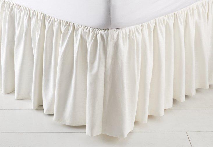 King Alessandra Bed Skirt, White