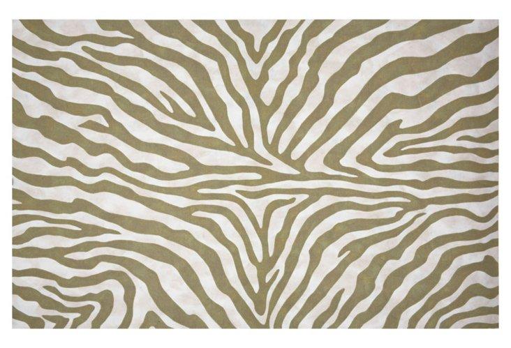 Zebra Outdoor Rug, Sage/Cream