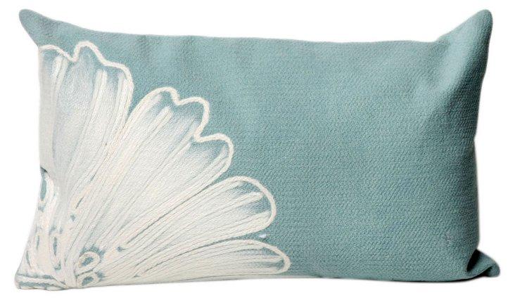 Set of 2 Flower 12x20 Pillows, Aqua