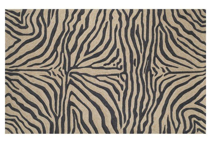 Zebra Outdoor Rug, Black/Tan
