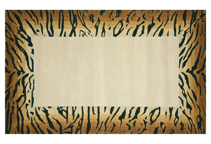 Tiger Border Rug, Brown/Sand