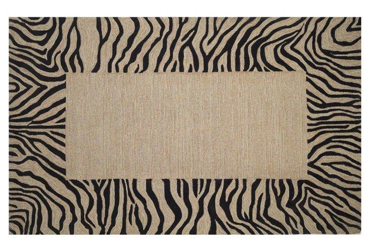 """7'6""""x9'6"""" Zebra Border Rug, Black/Tan"""