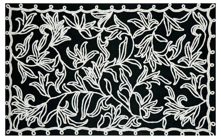 Braid Outdoor Rug, Black/White