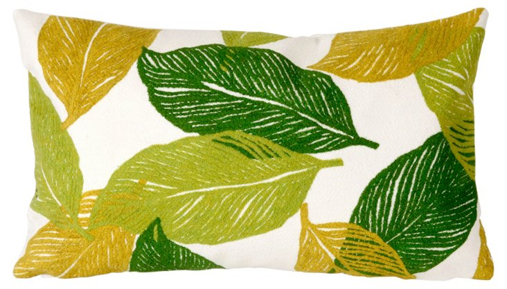 Set of 2 Cut Leaves 12x20 Pillows, Green
