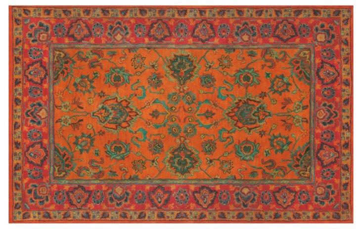 5'x8' Mahal Rug, Orange/Rust/Jade