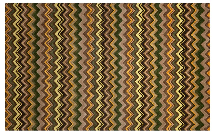 Winding Stripe Rug, Green