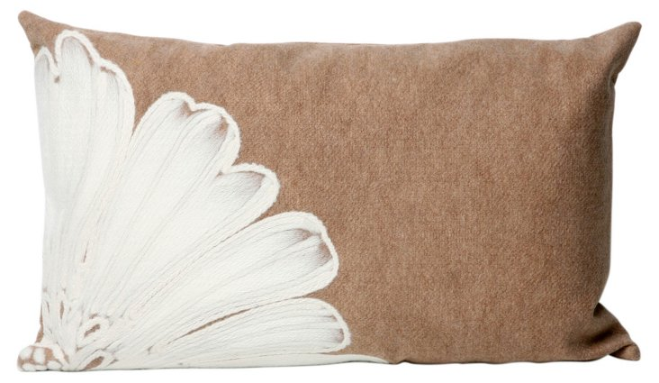 Set of 2 Flower 12x20 Pillows, Taupe