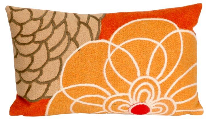 Set of 2 Flower 12x20 Pillows, Orange