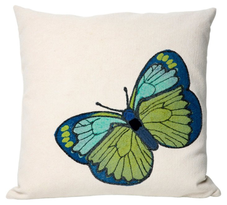Set of 2 Butterfly 20x20 Pillows, Green