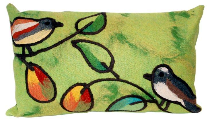 Set of 2 Birds 12x20 Pillows, Green