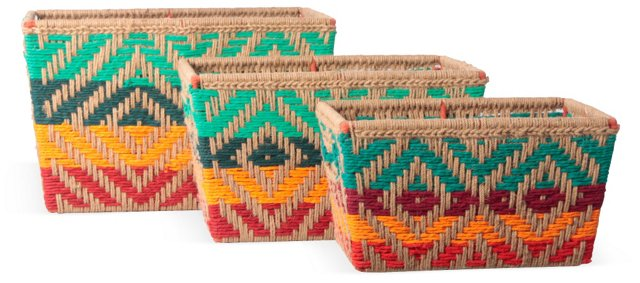 Asst of 3 Jute Baskets, Multi