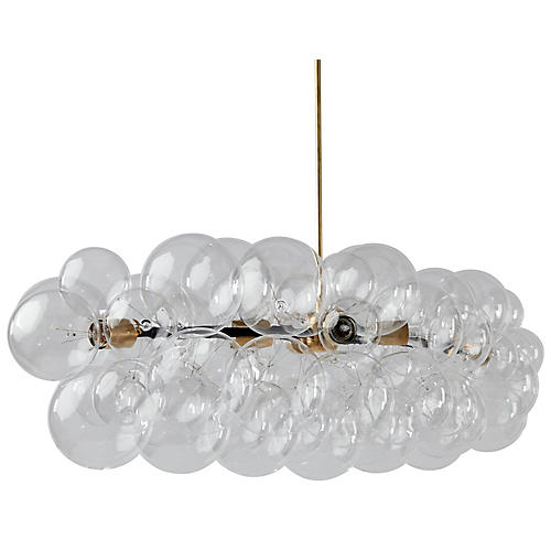 Branch Bubble Chandelier, Clear/Brass