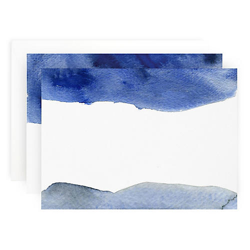 S/10 Blue Wash Note Cards