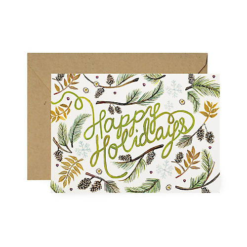 S/8 Happy Greenery Holiday Cards
