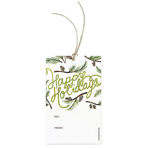 S/12 Happy Holidays Gift Tags