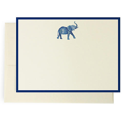 S/10 Patterned Elephant Note Cards