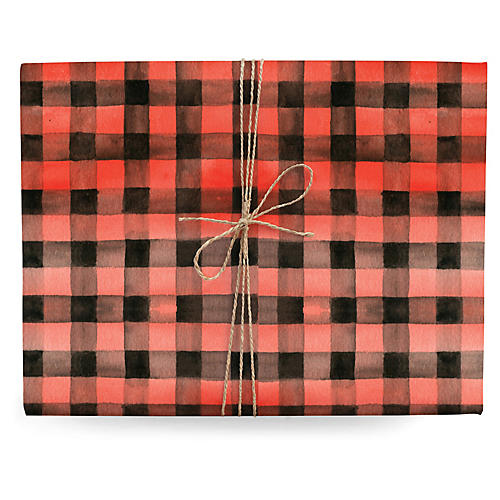 S/3 Gingham Gift Wrap