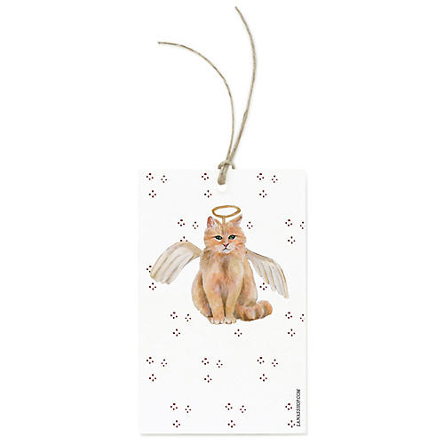 S/12 Festive Angel Cat Gift Tags