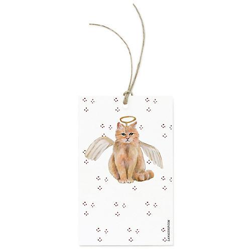 S/12 Festive Angel Cat Gift Tags