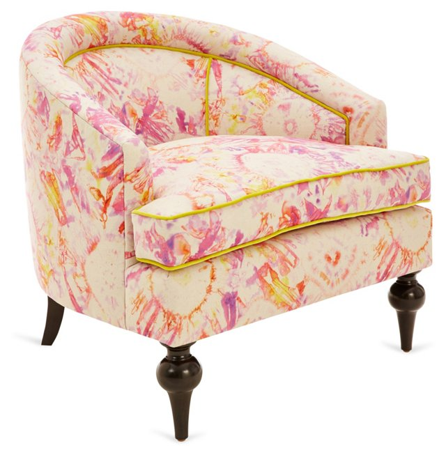 Bijou Linen Accent Chair, Pink/Citrus