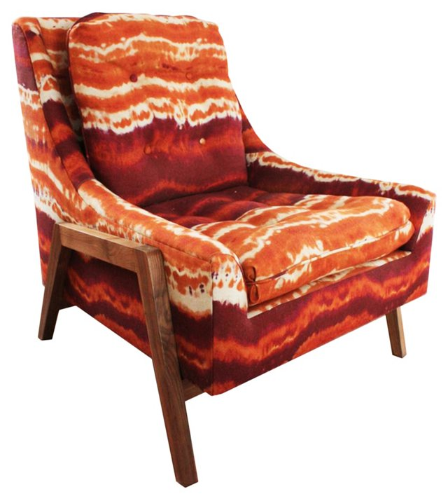 Grace Linen Tie-Dye Chair, Orange/White