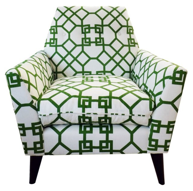 Porter Linen Chair, Green/White