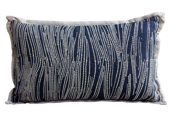 Charcoal Lumbar Pillow, Black/Gold
