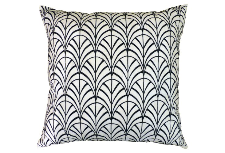 Shell Embroidered Pillow, Black/White
