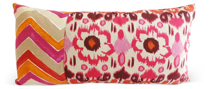 Starburst 22x22 Embroidery Pillow, White