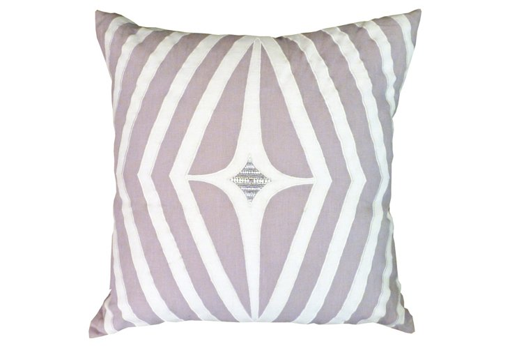 Geo Applique Pillow, Lavender/Taupe