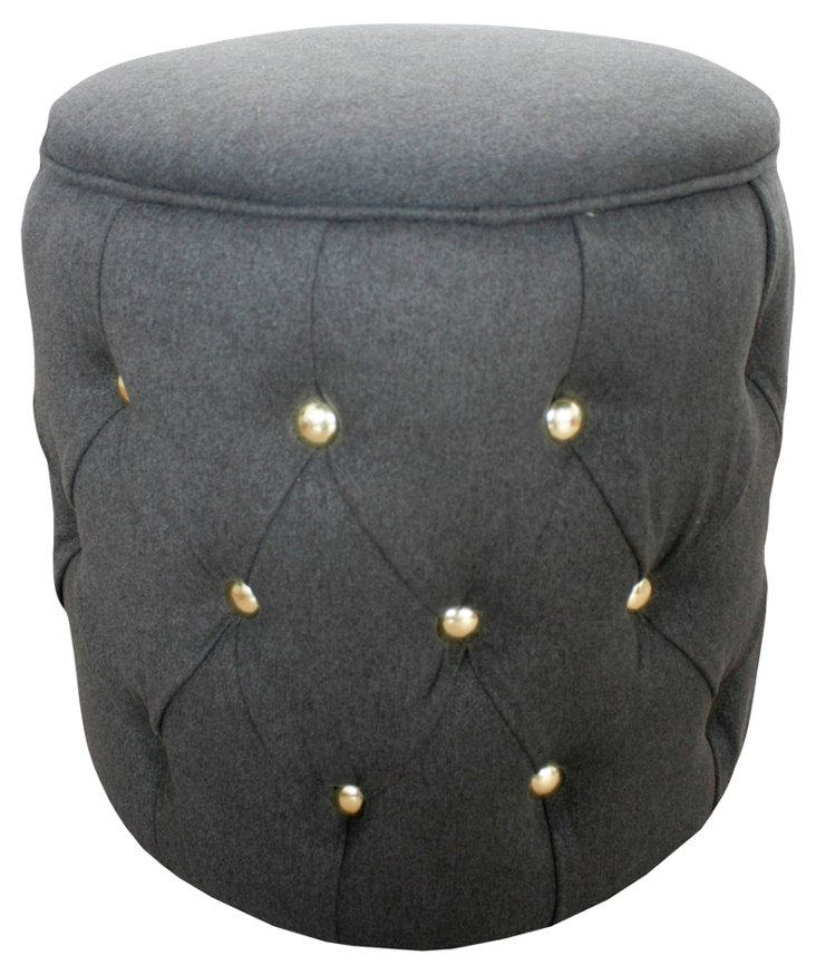 Audrey Round Tufted Stool, Gray