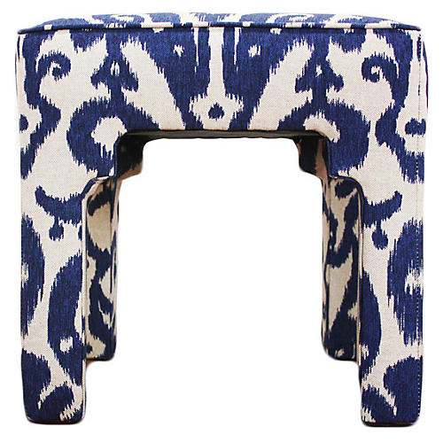 Hicks Stool, Navy Ikat