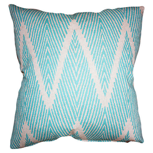 Nandi 20x20 Cotton Pillow, Aqua