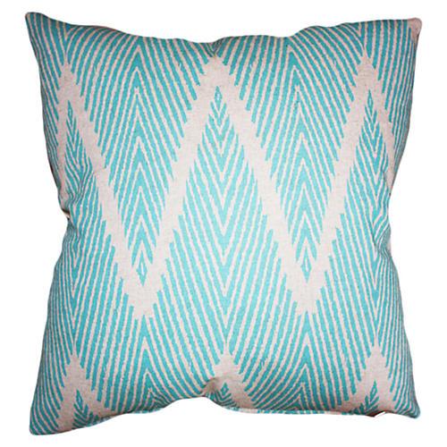 Nandi 20x20 Cotton Pillow, Aqua