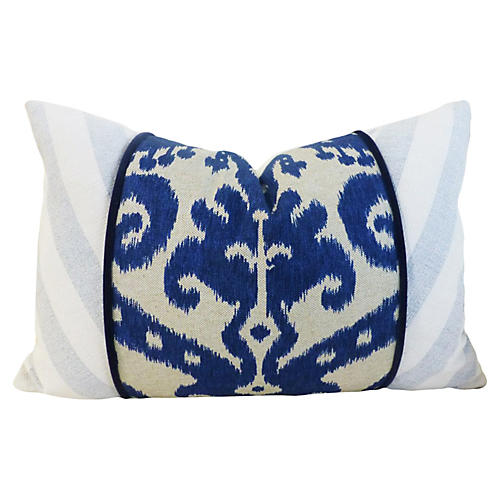 Ikat 16x24 Cotton-Blend Pillow, Navy