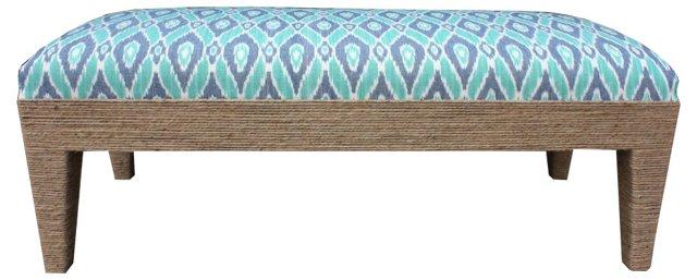 """Del Mar 48"""" Cotton Bench, Aqua"""