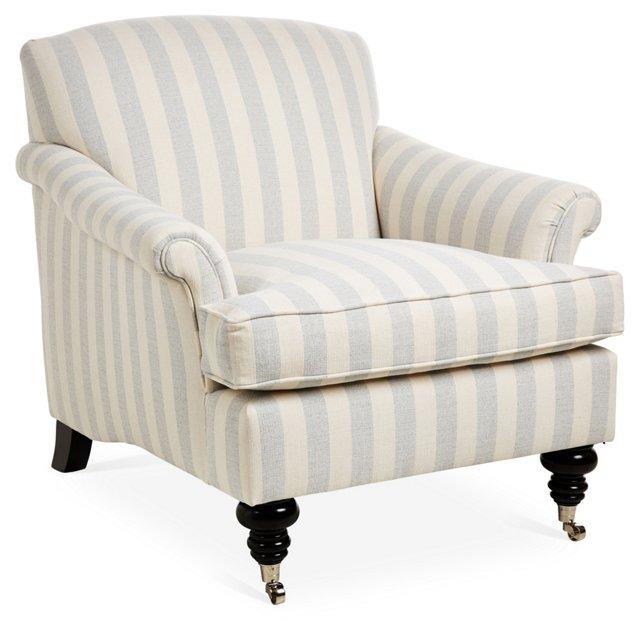 Joplin Striped Chair, Blue/Cream