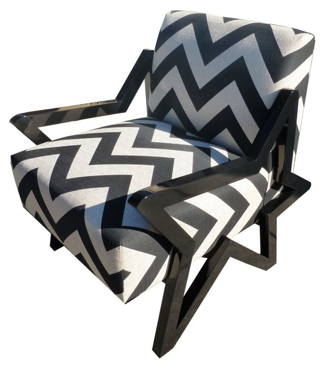 Stella Chevron Accent Chair, Black