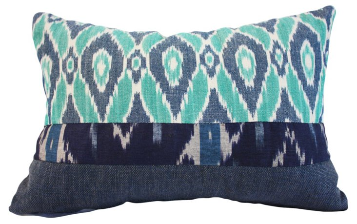 Tina 14x20 Cotton Pillow, Aqua