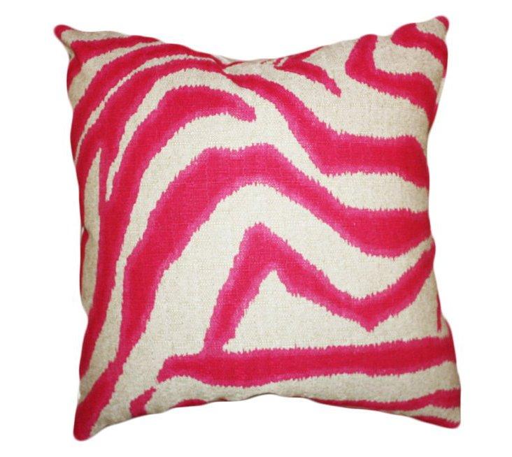 Zebra 20x20 Linen-Blend Pillow, Pink