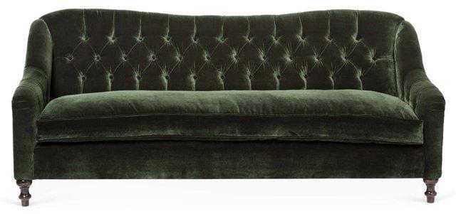 """Waverly 86"""" Tufted Sofa, Forest Velvet"""