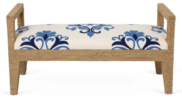 "Solana 54"" Rope Bench, Ivory/Blue Floral"