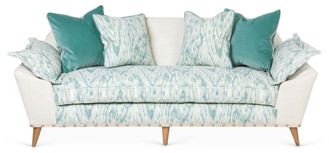 "Annelise 84"" Sofa, Aqua/Cream"